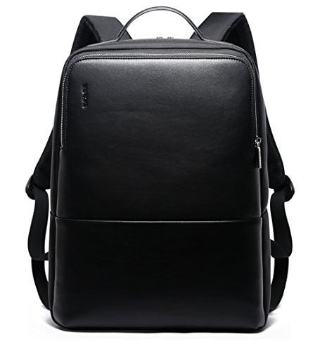 BOPAI Anti Theft 15 Laptop Business Slim College Rucksack Water-Resistant Leather Backpack for Men, Black