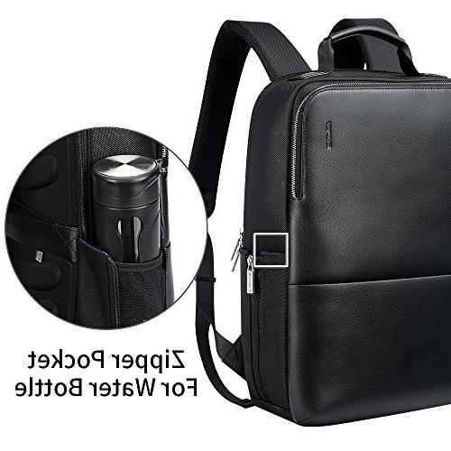 BOPAI Anti Backpack 15 inch Laptop Business Slim College Water-Resistant Leather for Men, Black