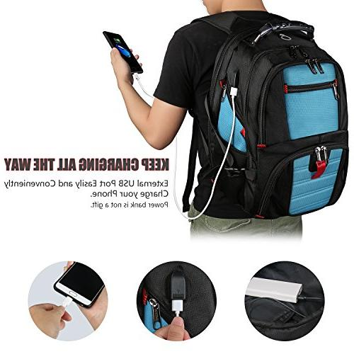 Extra Large Backpack, Lightweight Laptop with Usb Charging Port/Headphone Men 17 inch