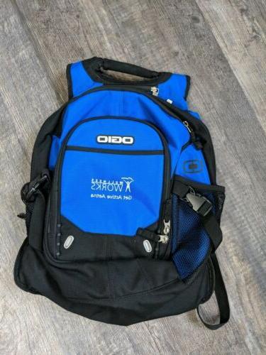 backpack travel black blue laptop nwot