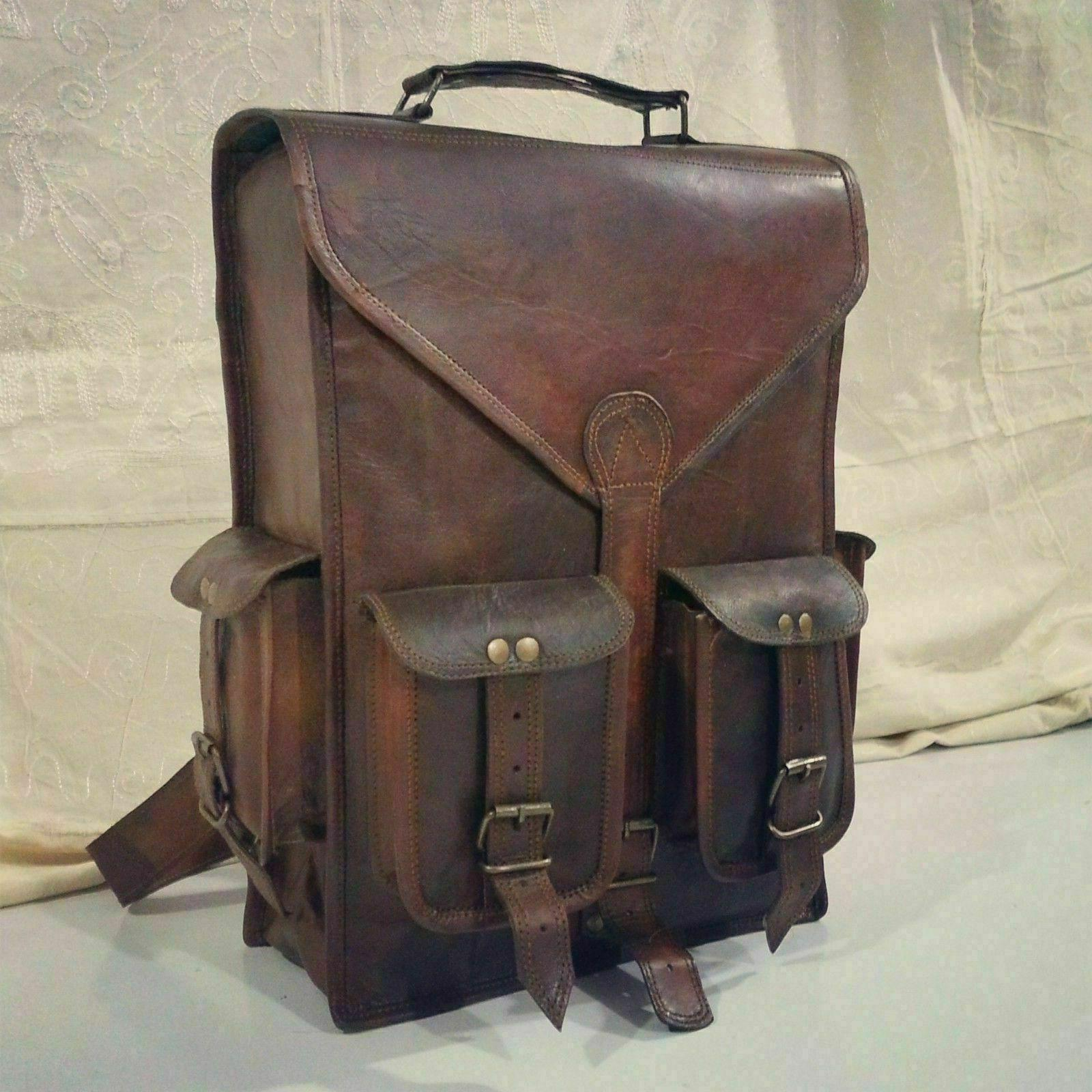 bag leather backpack men satchel shoulder travel