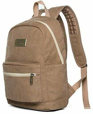 brown canvas small size laptop backpack