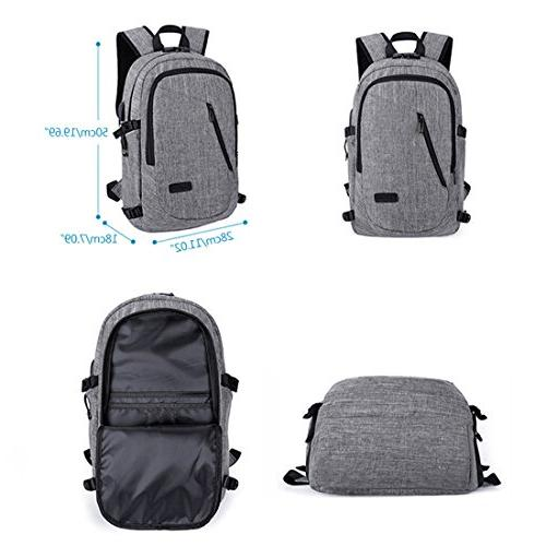 Xianheng Laptop Backpack Anti-theft Port Large School Men Women Grey