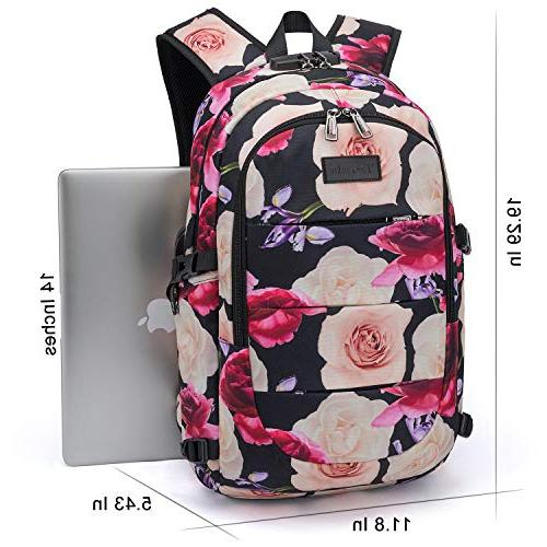 Tzowla Water Anti-Theft College Backpack USB Charging Port Inch Computer Women Travel
