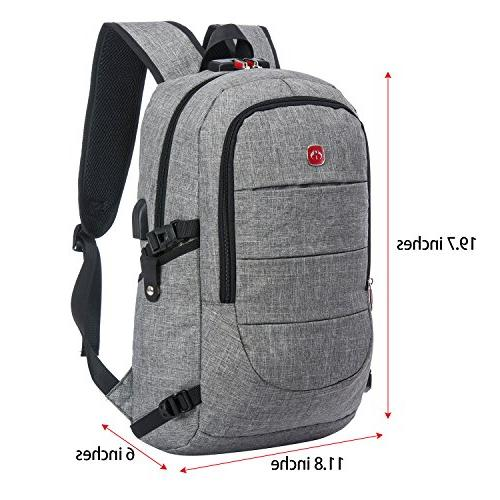 Business Water Resistant Laptop USB Charging and Lock&Headphone