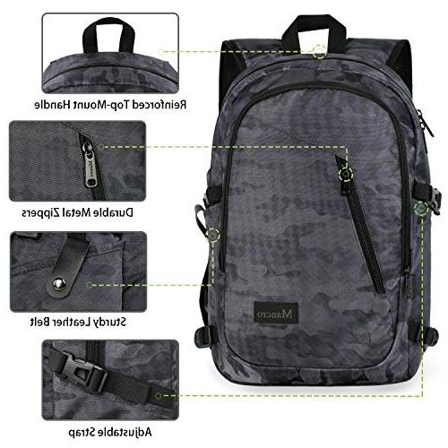 Camo Backpack, Camouflage Laptop for Travel Accessories, Durable School Bag Port, Outdoor 15.6