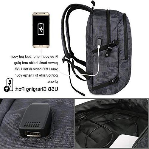 Camo Travel Accessories, Anti-Theft School Bag w/Charging Outdoor Women 15.6 Inch Notebook