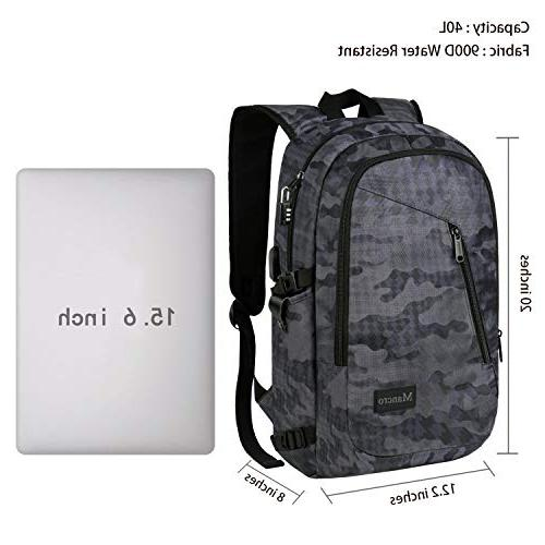 Camo Backpack, Camouflage Laptop for Accessories, School w/Charging Outdoor for Men Women Boys 15.6 Notebook