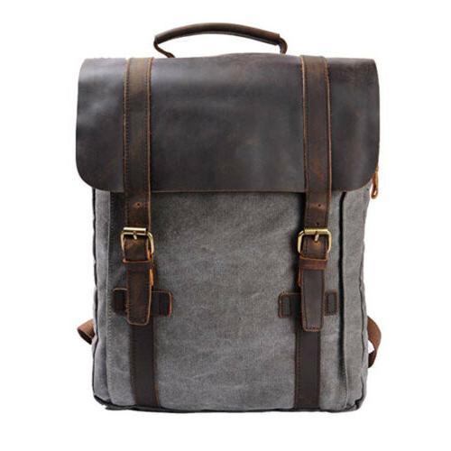 Canvas Backpack Mens Women School Laptop Satchel