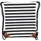 Canvas Drawstring Backpack Sackpack Bag - Black White Stripe