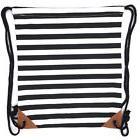 Canvas Drawstring Backpack Sackpack Bag - Black White Stripe