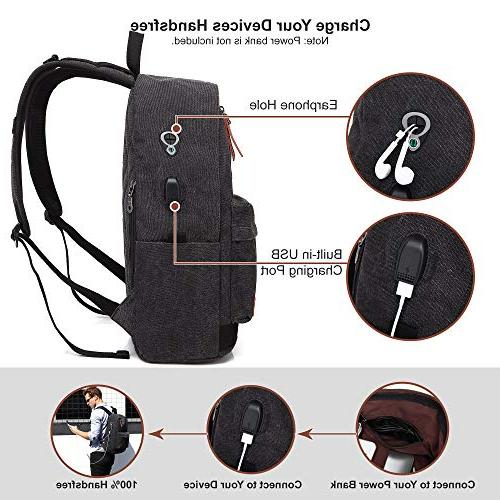 Canvas School USB Charging For Women, Vintage Anti-theft Travel Daypack Student Fits to 15.6