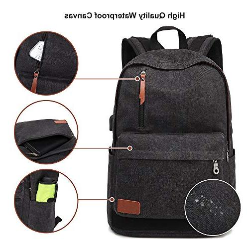 Canvas Laptop School Backpack With Charging Women, Daypack inch Computer