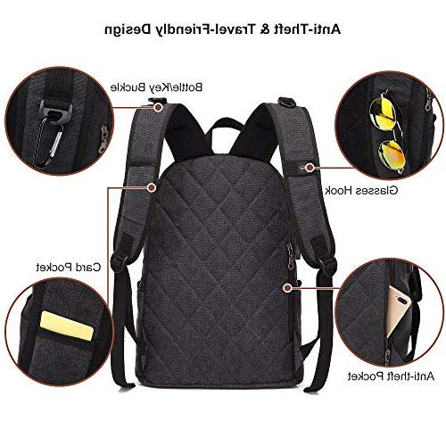 Canvas Laptop Backpack, Waterproof School Charging Women, Daypack College inch Computer