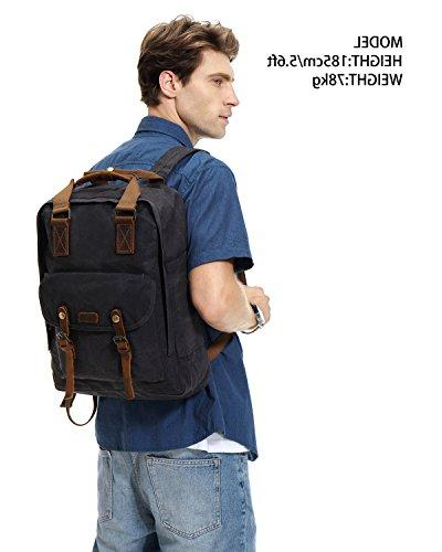 Canvas Laptop Backpack,VASCHY Waxed for Laptop Gray