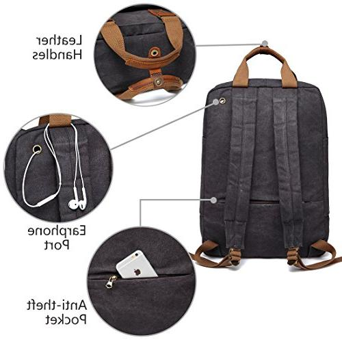 Canvas Laptop Backpack,VASCHY Vintage Waxed Canvas for Men 15.6inch Laptop