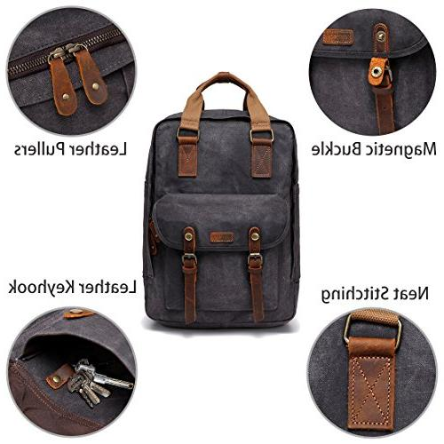 Canvas Waxed Canvas Anti-Theft Backpack for 15.6inch Laptop Gray