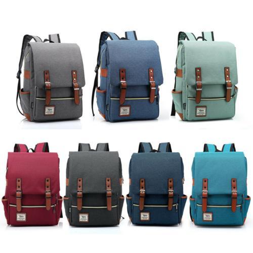 canvas school bag travel rucksack satchel backpack