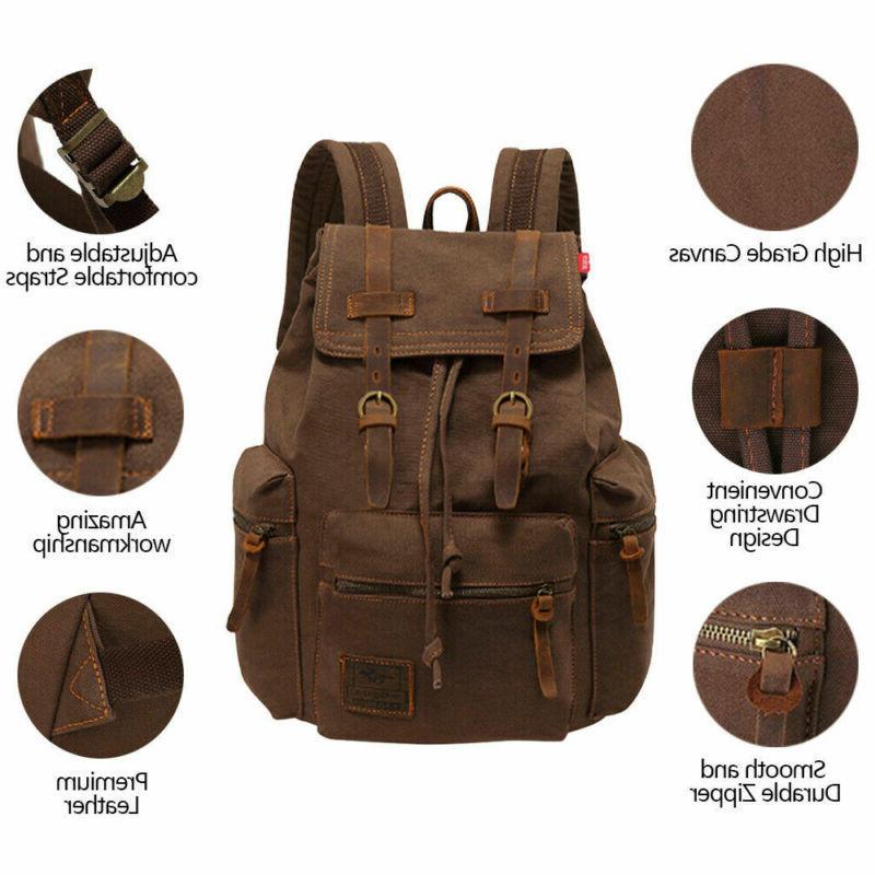 Canvas Travel Camping School Satchel Laptop Bag Backpack