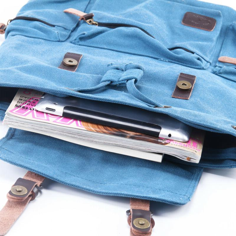 Canvas Travel Rucksack Hiking Bag Backpack