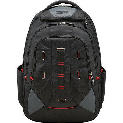 crosscut laptop backpack black red business