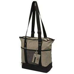Deluxe Shopper Tote - Color: Khaki/Black