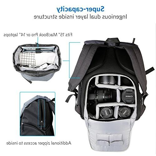 Sony Rain Cover Inateck Anti-Shock DSLR Camera Water-Resistant Backpack with Laptop Compartment Olympus Tripod Holder Compatible Nikon Canon
