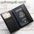 Free Engraving, Leather Passport Holder ID Case Credit Card