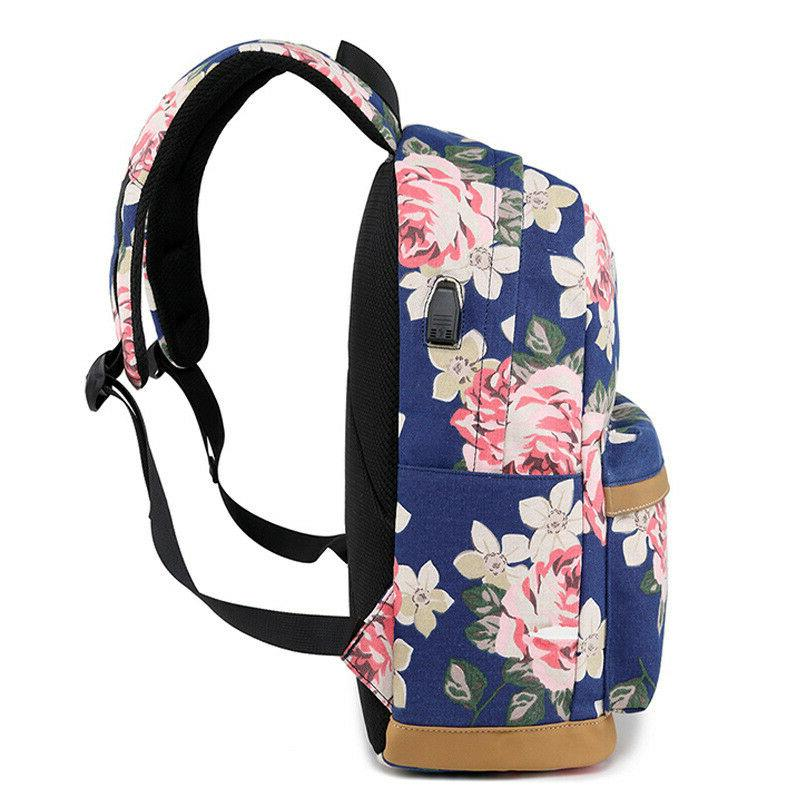 Fashion Flower Printing Women USB School Bag For Girl