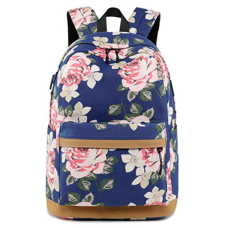 fashion flower printing backpack women waterproof usb