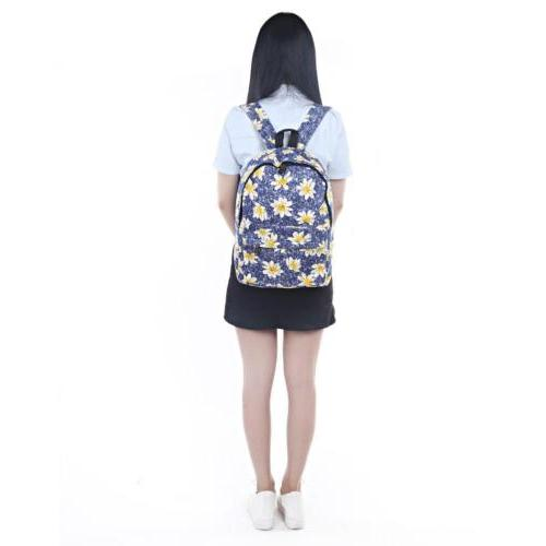Canvas Floral Backpack School Bags For Girls Women Outdoor
