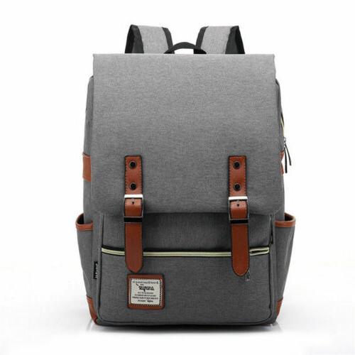 Girl Women Men Canvas Leather Backpack Rucksack Laptop Bag