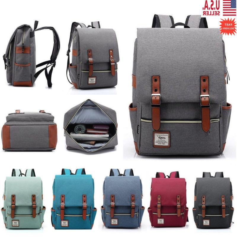 Girl Men Leather Travel Rucksack School Bag