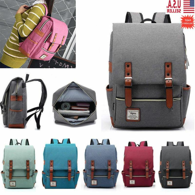 girl women men canvas leather travel backpack