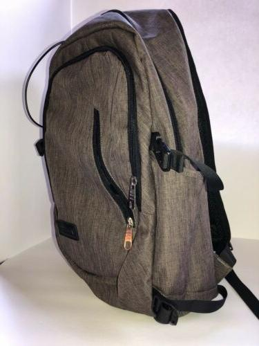 Gray Brown Bag Backpack Book Bag USB Port