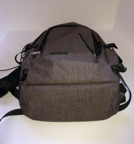 Gray Bag Backpack Book Bag Travel Port
