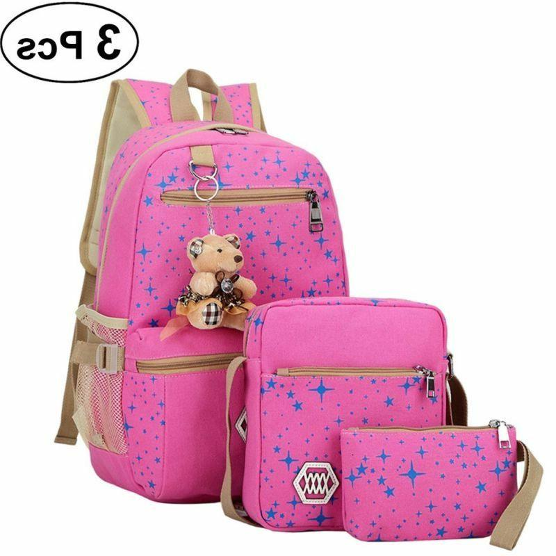 hot 3pcs set women backpack bookbag laptop