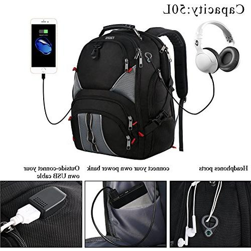 Travel Backpacks for Men,17 Friendly Durable with Luggage Sleeve High Resistant School Charger Port,