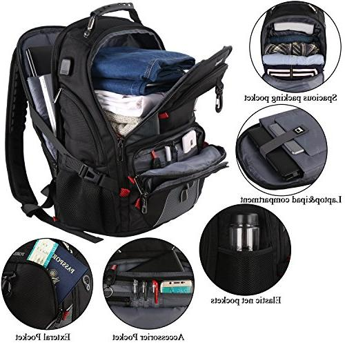 Travel Men,17 Inch Laptop Backpack,Large Friendly Computer Backpack with Luggage High Resistant School USB Charger