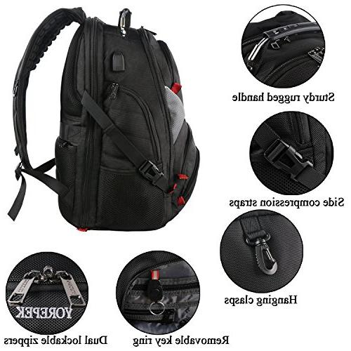 Travel Men,17 Inch with High School,Water College School with USB Charger Port,