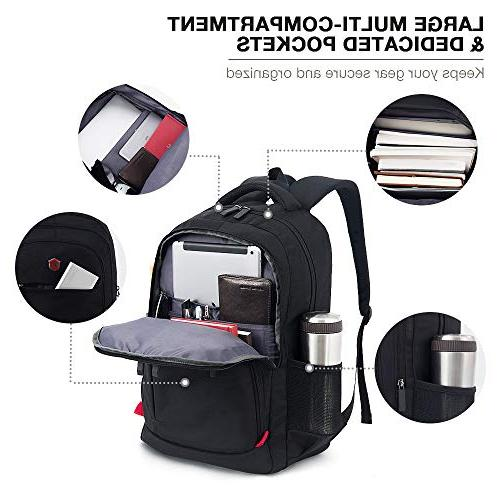 Laptop Backpack, Travel Waterproof Computer Bag Men, Anti-theft College Bookbag, Backpacks with Port Black
