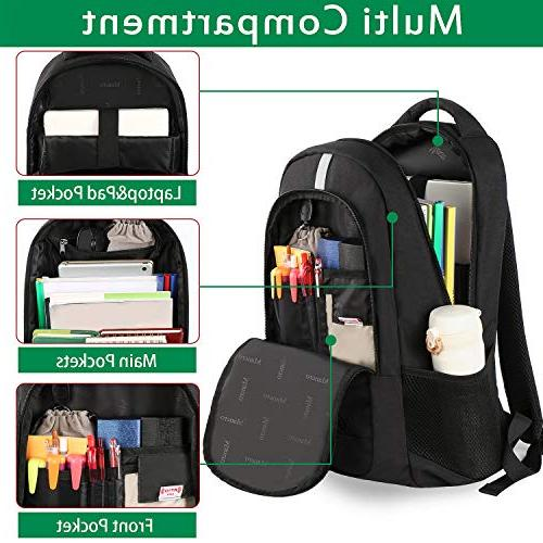 College Backpack, Backpack Theft Computer Bag Charging Port, Durable and Slim Lightweight Daypack 15.6 Notebook- Black
