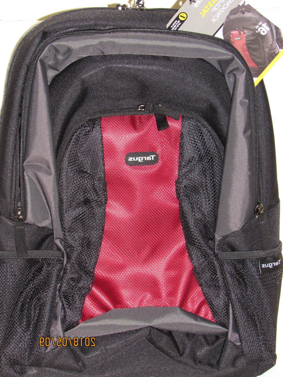 laptop backpack 16 medium black red new