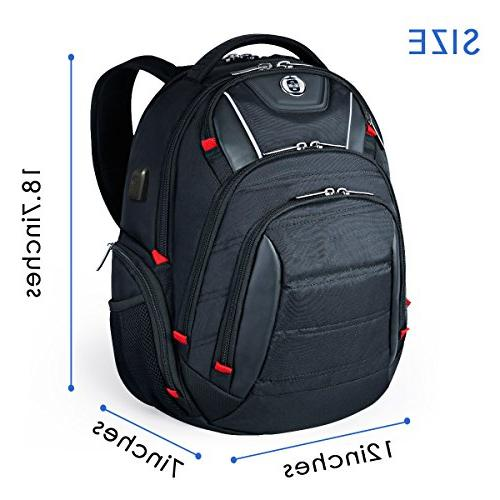 Laptop Backpack,Swissdigital Busniess with Port,RFID and for Travel Fits 15.6-Inch Black