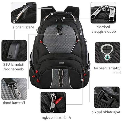 Travel Backpack, Large Computer Fits 17 Men Women / Black Smart 9 Water-Resistant