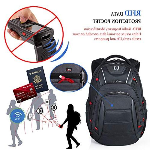 Laptop Backpack,Swissdigital Busniess Backpack with and Scan for 15.6-Inch Laptop for Man, Black