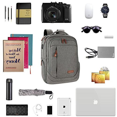 KROSER Inch Backpack School Backpack Casual Water-Repellent Laptop USB Charging Port Travel/Business/College/Women/Men-Grey