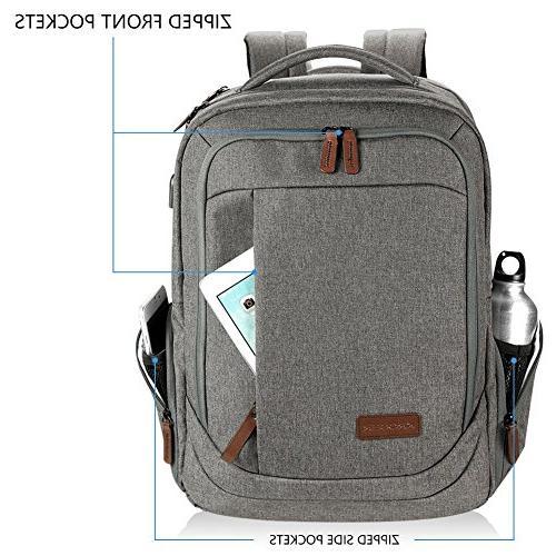 KROSER Backpack School Backpack Casual Daypack Water-Repellent USB Travel/Business/College/Women/Men-Grey