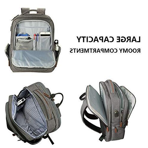 KROSER Backpack 17.3 Inch Large Backpack School Backpack USB Charging Travel/Business/College/Women/Men-Grey
