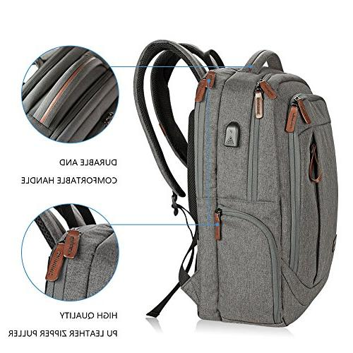 KROSER Laptop Backpack Inch Large Backpack School Casual Water-Repellent with USB Travel/Business/College/Women/Men-Grey
